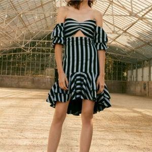 WAYF   Tegan Off-the-Shoulder Stripe Ruffle Dress